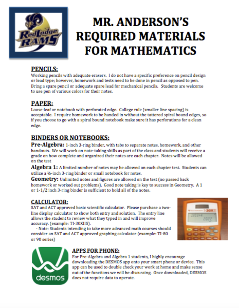 Anderson, Nathan (Math) / Required Materials